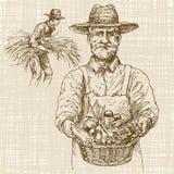 Gardener with a basket of harvested vegetables. Hand drawn set. royalty free illustration