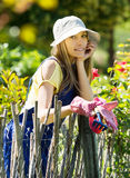 Gardener in blue uniform Royalty Free Stock Image