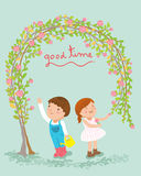 Gardener boy and girl have a good time vector illustration Royalty Free Stock Photography