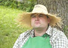Gardener: break. Gardener taking a break stock photo