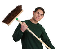 Gardener with a broom Stock Photography