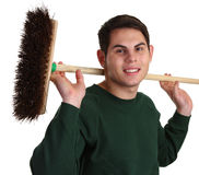 Gardener with a broom Royalty Free Stock Photo
