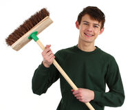 Gardener with a broom Stock Photo