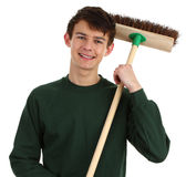 Gardener with a broom Stock Photos