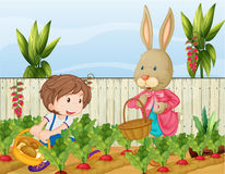 The gardener and the bunny. Illustration of the gardener and the bunny Stock Photos