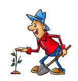 Gardener, caricature Royalty Free Stock Image