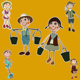 Gardener cartoon set stickers Stock Images
