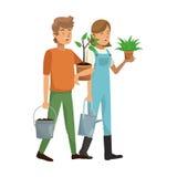 Gardener couple icon Stock Photos