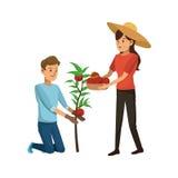 Gardener couple icon Stock Photo