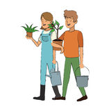 Gardener couple icon Royalty Free Stock Images