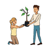 Gardener couple icon Stock Images