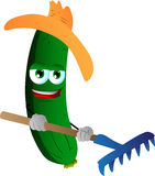Gardener cucumber or pickle with rake Stock Images