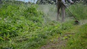 Gardener cut high grass. Gardener man cut high grass near garden road with weed trimmer cutter tool and water drops fall after rain.n stock video