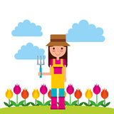 Gardener with cute garden. Vector illustration design Royalty Free Stock Photos