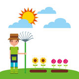 Gardener with cute garden. Vector illustration design Stock Photos