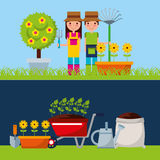 Gardener with cute garden. Vector illustration design Stock Images