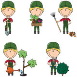 Gardener. Cute and smart gardeners in different situations Stock Image
