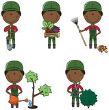 Gardener. Cute and smart gardeners in different situations Royalty Free Stock Images
