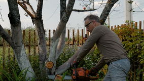 The gardener cuts the old branches on a tree, using a chain saw. The gardener cuts the old branches on a tree, using a chain saw at his country house stock video footage