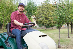 Gardener cutting the grass of a garden seated on a lawn mower Royalty Free Stock Photography