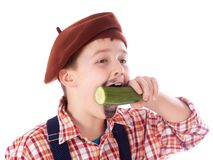 Gardener eating green cucumber Royalty Free Stock Photos
