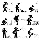 Gardener and Farmer Clipart. Set of vector stick man pictogram representing gardener and farmer using backhoe, lawnmower, plant seedling, cutting long grass with Stock Photography
