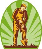 Gardener farmer digging shovel. Illustration of a Gardener or farmer digging with shovel and sunburst in the background royalty free illustration