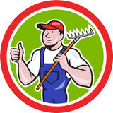 Gardener Farmer Holding Rake Thumbs Up Cartoon Royalty Free Stock Photography