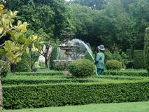 Gardener filling water in fountain in sumner in  the tropical green park Royalty Free Stock Image