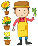 Gardener and flower pot Stock Images