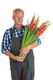Gardener with flowers Royalty Free Stock Photo