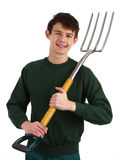 Gardener with a fork Stock Photo