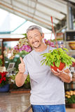 Gardener in garden center holding thumbs up Royalty Free Stock Images
