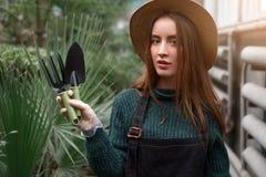 Gardener with garden tools in hands. Stock Images