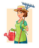 Gardener girl with rake and watering can Stock Photos
