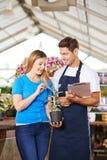 Gardener giving advice to customer in nursery. Smiling gardener giving advice to customer with plant (echeveria) in a nursery shop stock image