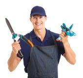 Gardener gloves shears Stock Photo