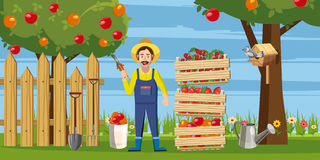 Gardener harvest icons set, cartoon style Royalty Free Stock Photo