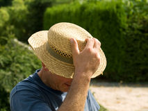Gardener with hat Royalty Free Stock Image