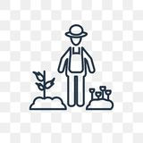 Gardener with Hat vector icon isolated on transparent background stock illustration