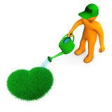 Gardener With Heart. Orange cartoon character watering the heart from grass Royalty Free Stock Photo
