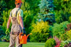 Gardener and His Garden Job Royalty Free Stock Photo