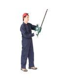 Gardener hold lawn mower on white Stock Images