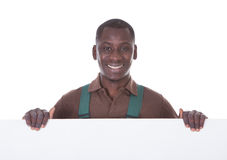Gardener Holding Bill Board Stock Image