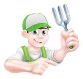 Gardener Holding Fork Stock Images