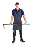 Gardener holding hoe Stock Photos