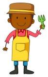 Gardener holding planting fork Royalty Free Stock Images