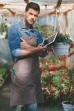Gardener holding tablet in hands while standing in greenhouse. Portrait of gardener holding tablet in hands while standing in greenhouse Stock Images