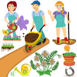 Gardener illustrations Royalty Free Stock Images