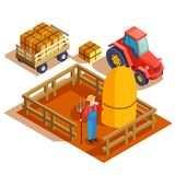 Farming Agrimotor Isometric Composition. Gardener isometric composition with agrimotor pulling cart and farmer with pitchfork and haymow in fenced area vector Royalty Free Stock Photos